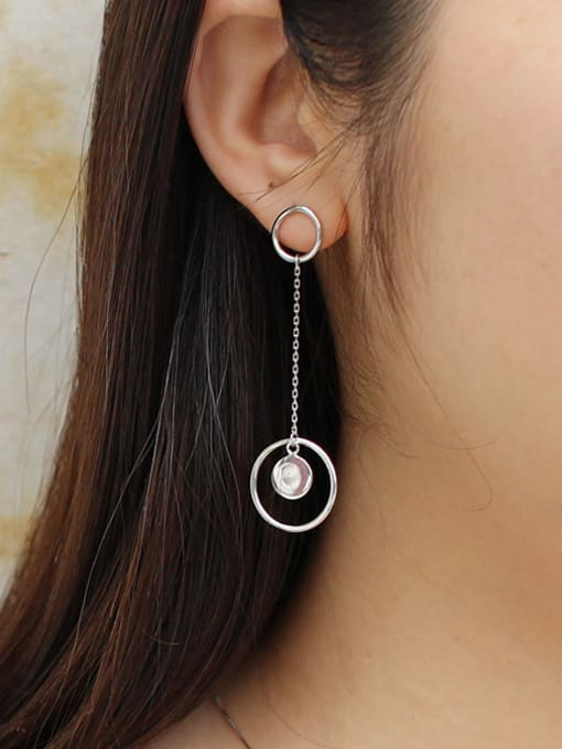 Arya Fashion Hollow Rounds Silver Drop Earrings