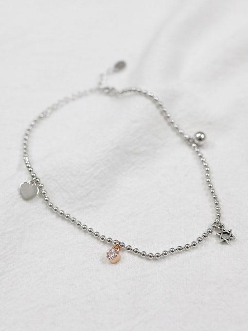 Arya Simple Tiny Heart Cubic Zircon Silver Women Anklet