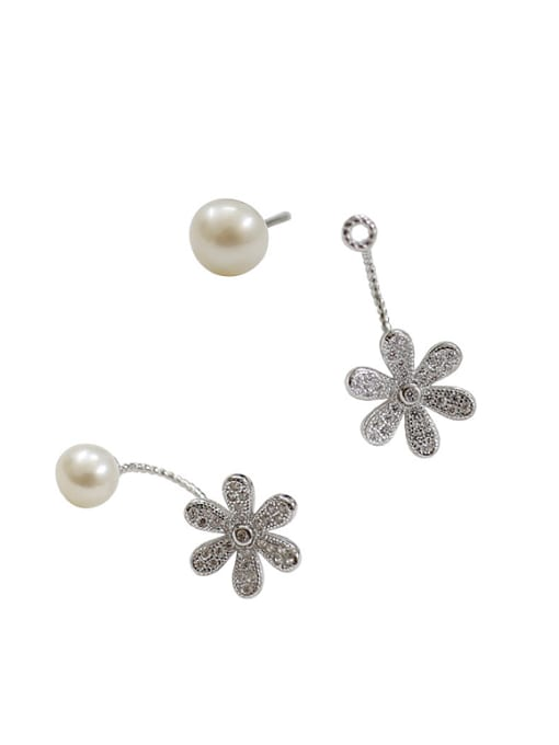 Arya Fashion Freshwater Pearl Flowery Silver Stud Earrings