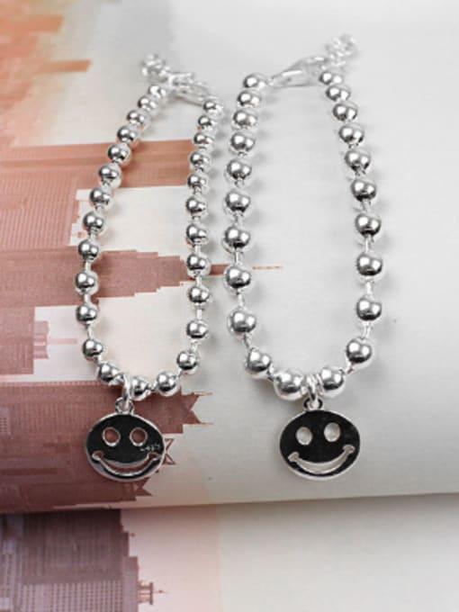 Dark Phoenix Simple Little Smiling Face Beads Silver Bracelet