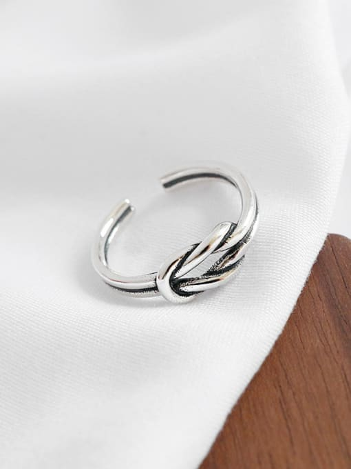Ying 925 Sterling Silver With Antique Silver Plated Personality Double knot Free Size Rings