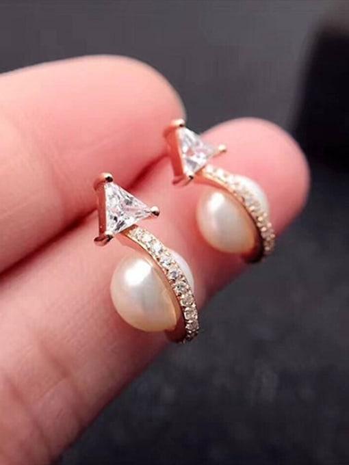 Evita Peroni Personalized Freshwater Pearl Geometrical stud Earring