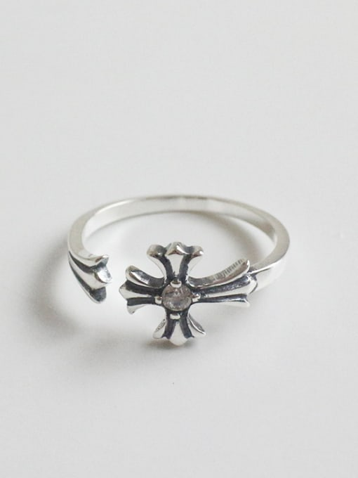 Arya Retro style Little Cross Rhinestone Silver Opening Ring