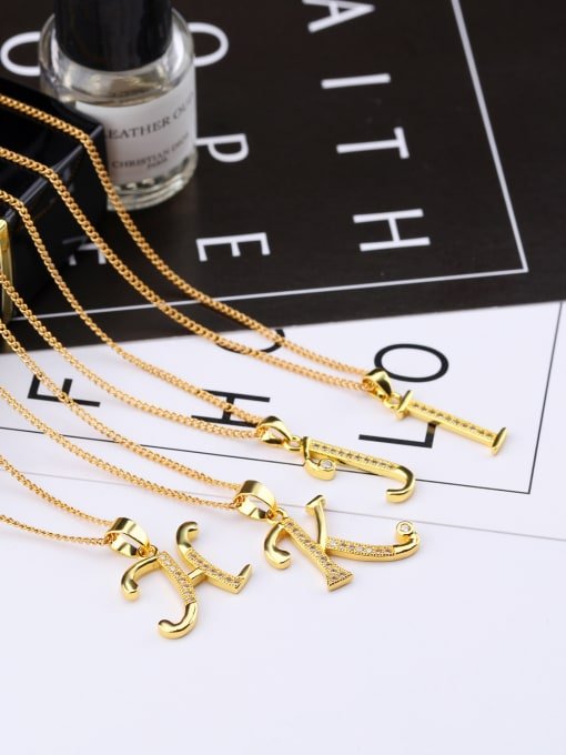 Tong Copper With 18k Gold Plated Personality 26 Monogrammed Necklaces