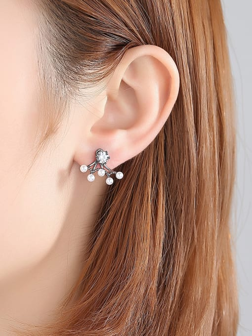 BLING SU Copper With Gun Plated Trendy Cubic Zirconia  Flower Stud Earrings