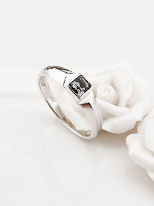 OUXI Fashion Black Zircon Silver Ring