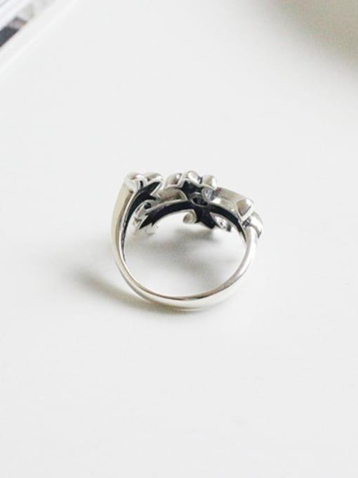 Arya Retro style Little Cross Black Zircon Silver Ring