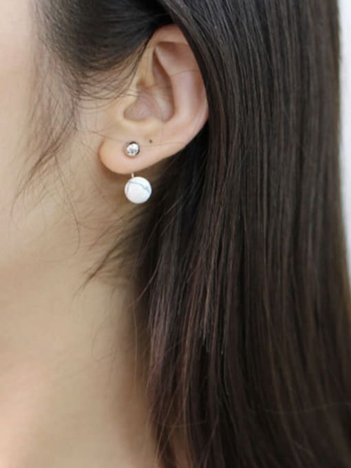 Arya Fashion White Turquoise stone Little Smooth Bead Silver Stud Earrings