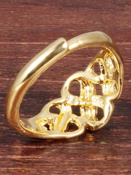 Tong Copper With 18K Gold Plated Luxury splayed FREE SIZE Rings