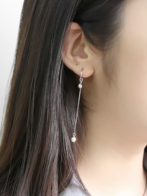 Arya Simple Little Beads Artificial Pearl Silver Earrings