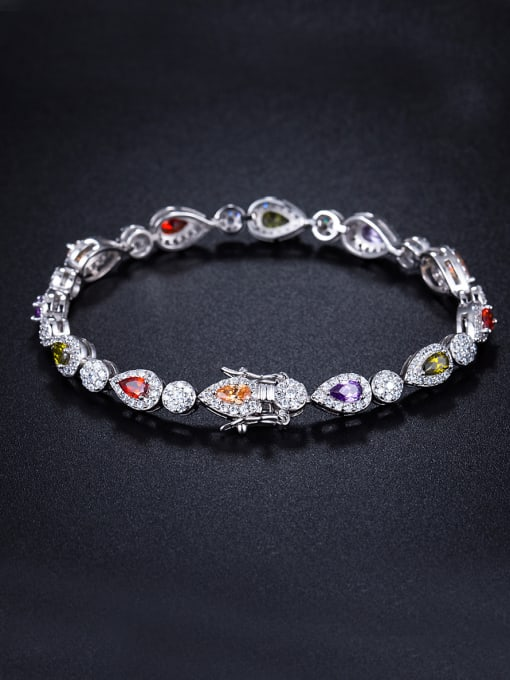 Armadani Micro-inlay zircon water-drop colorful Bracelet