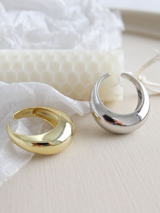 Ying 925 Sterling Silver With Silver Plated Simplistic Geometric free size Rings