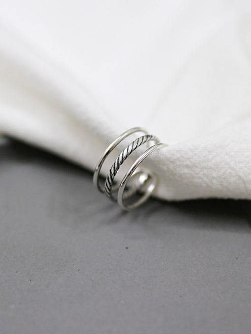 Arya Simple Three-band Antique Silver Plated Opening Ring