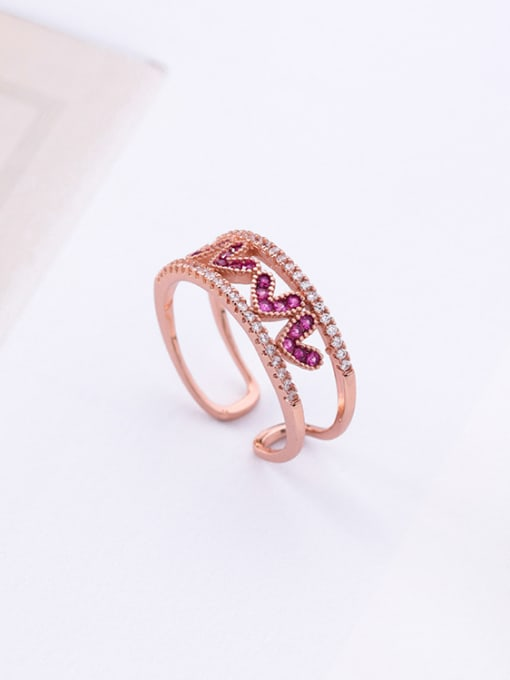 Girlhood Alloy With Rose Gold Plated Cute Heart Cubic Zirconia Rings