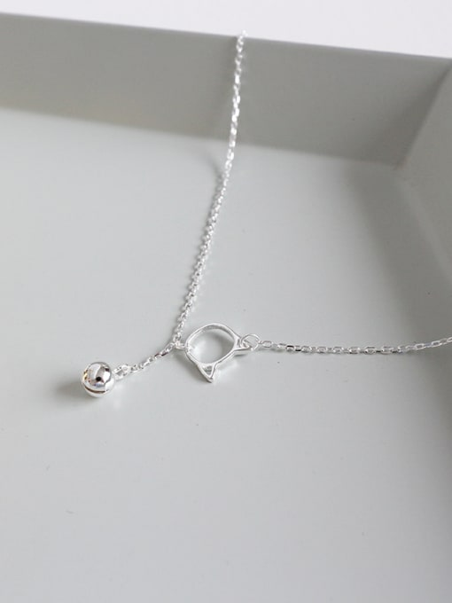 Ying 925 Sterling Silver With Silver Plated Cute Cat&bell  Anklets