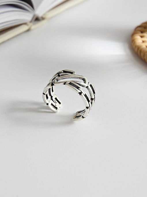 Dark Phoenix 925 Sterling Silver With Antique Silver Plated Vintage Geometric Band Rings