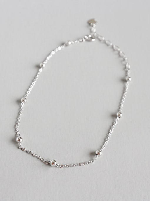 Arya 925 Sterling Silver With Platinum Plated Classic Ball Anklets