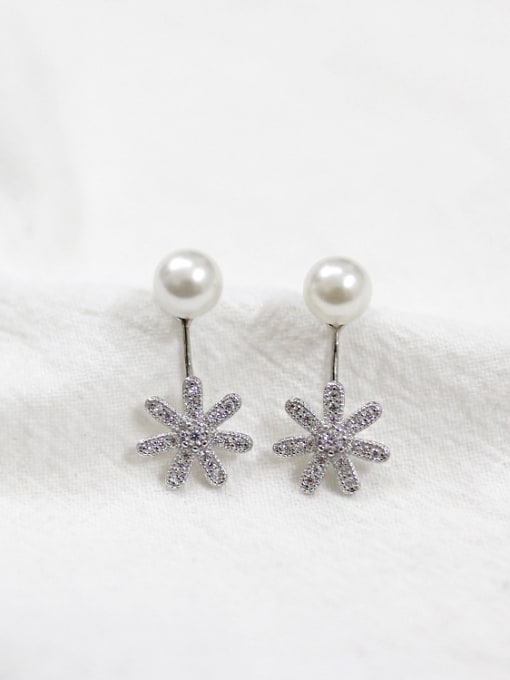 Arya Artificial Pearl Cubic Rhinestones Flowery Silver Stud Earrings