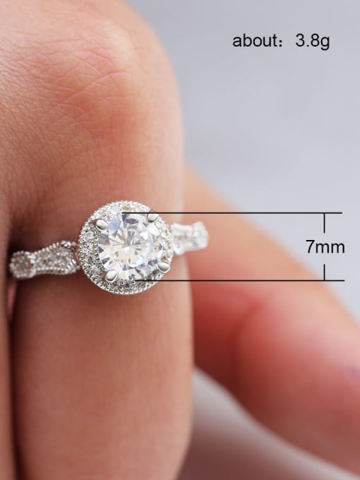 C Zricon Copper With White Gold Plated Delicate Round  Cubic Zirconia Solitaire Rings
