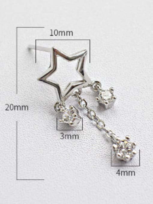 Arya Fashion Hollow Star Cubic Zirconias Silver Stud Earrings