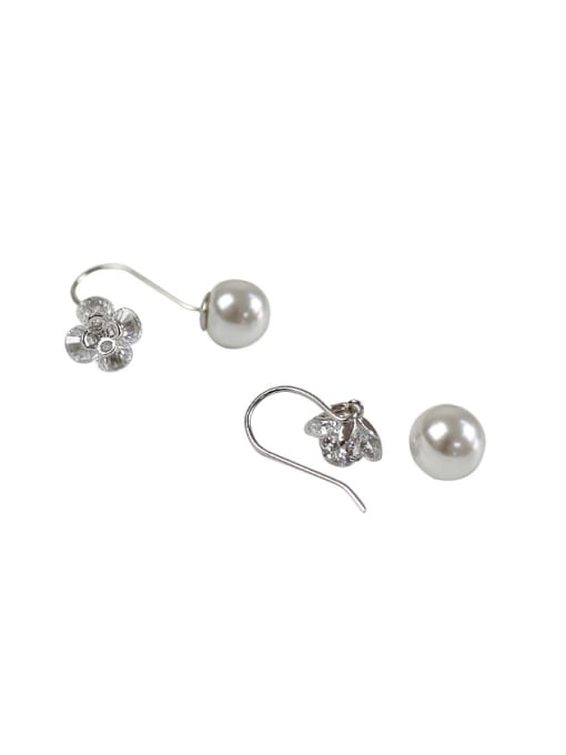 Arya Fashion Artificial Pearl Flowery Zircon Silver Earrings