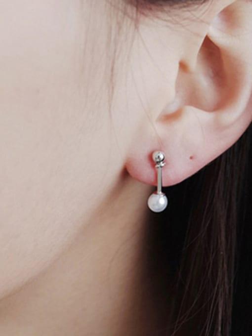 Arya Simple White Artificial Pearl Silver Stud Earrings