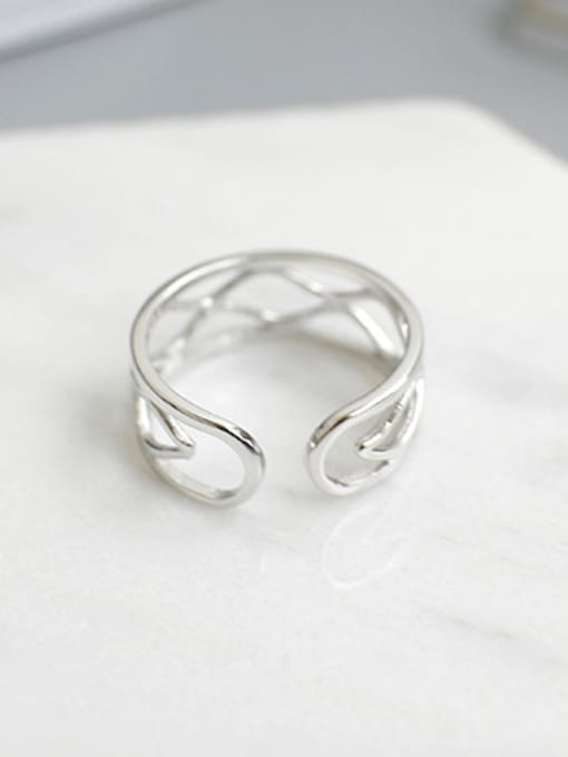 Arya Simple Two-band Slim Water Wave Line Silver Opening Ring