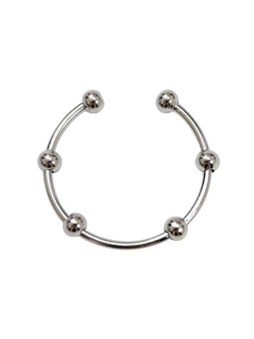 Arya Personalized Simple Tiny Beads Silver Opening Ring
