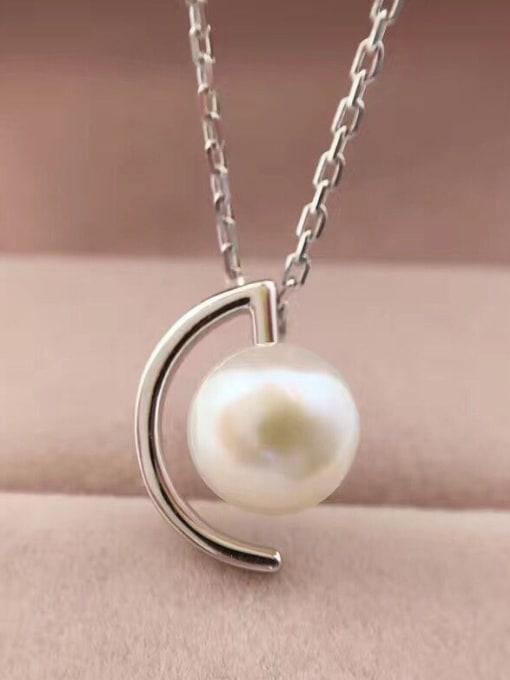 Evita Peroni Personalized Freshwater Pearl Crescent Necklace