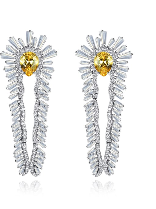 BLING SU Copper With  Cubic Zirconia Luxury Flower Stud Earrings