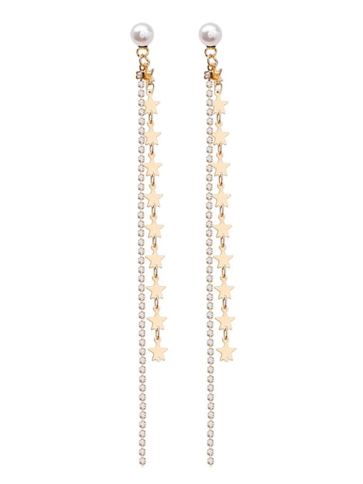Girlhood Alloy With Gold Plated Fashion Star Drop Earrings