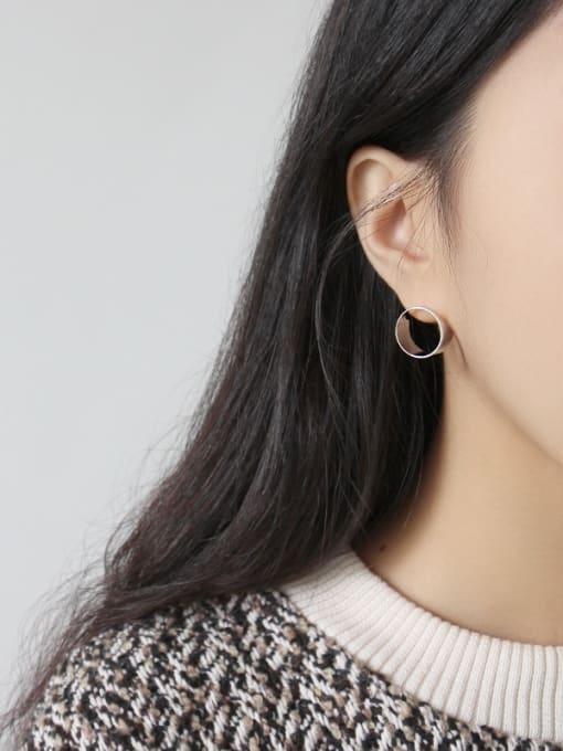 Dark Phoenix 925 Sterling Silver With 18k Gold Plated Simplistic Geometric Stud Earrings