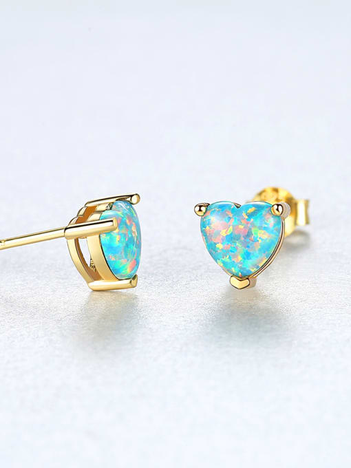 CCUI 925 Sterling Silver With Opal Cute Heart Stud Earrings