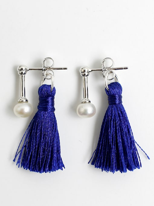 Arya Fashion Chinlon Tassels Freshwater Pearl Silver Stud Earrings