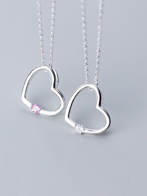Long 925 Sterling Silver With Silver Plated Simplistic Heart Necklaces