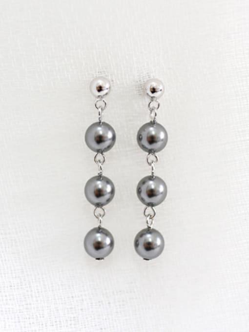 Arya Fashion Three Artificial Pearls Silver Stud Earrings