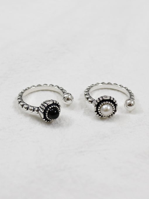 Ying 925 Sterling Silver With Silver Plated Personality old beaded edges Free Size Rings