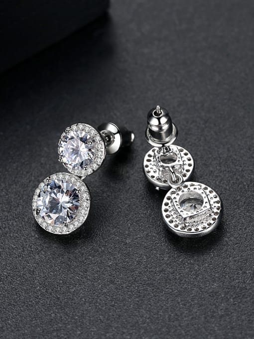 BLING SU Copper With Platinum Plated Delicate Round Cubic Zirconia Stud Earrings