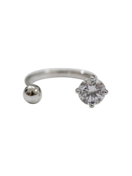 Arya Simple Cubic Zircon Little Bead Silver Opening Ring