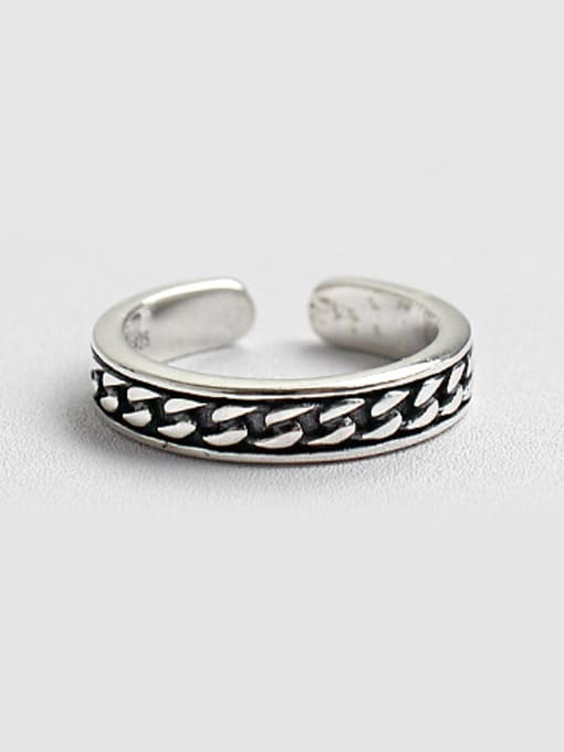 Arya Simple Black Enamel Silver Opening Ring