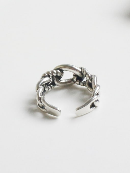 Arya Personalized Twisted Chain Silver Opening Ring