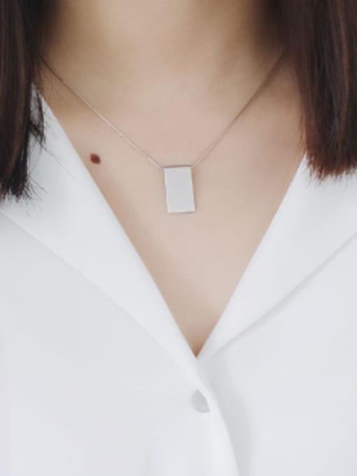 Arya Simple Smooth Rectangular Pendant Silver Necklace