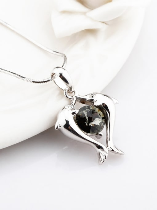 OUXI Fashion Double Dolphin Silver Pendant