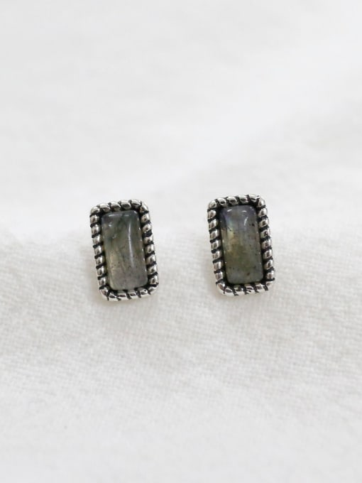 Arya Simple Rectangular Grey stone Silver Stud Earrings