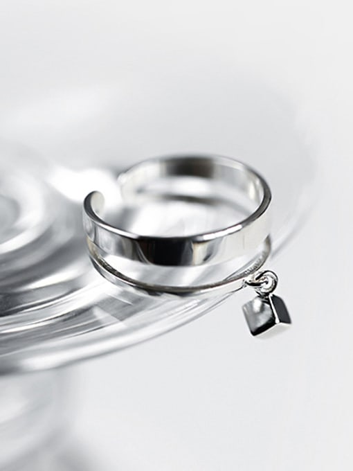 Arya Personalized Two-band Smooth Little Cube Silver Opening Ring