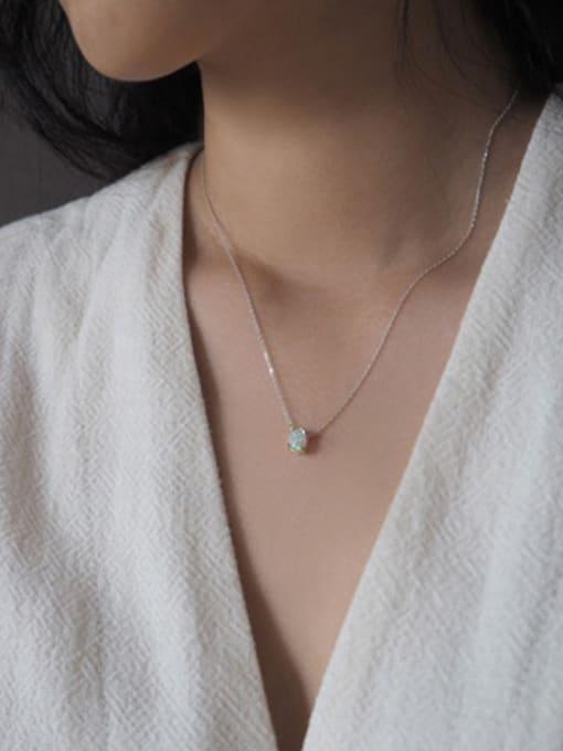 Arya Fashion Little Oval Opal stone Silver Necklace