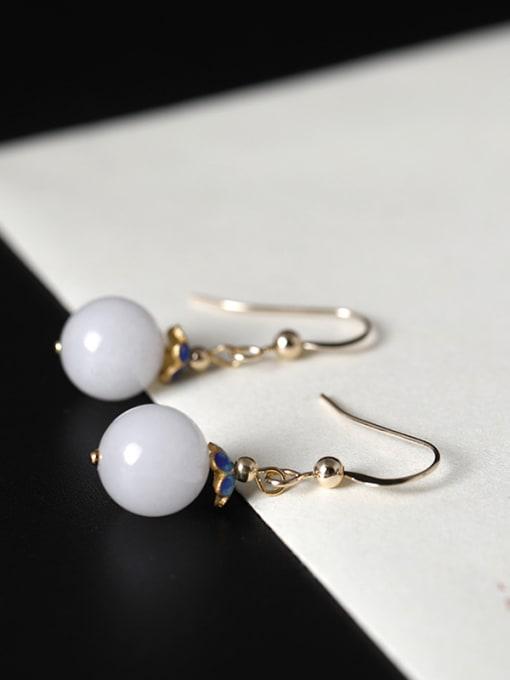 Christian Retro style White Jade Bead 925 Silver Earrings
