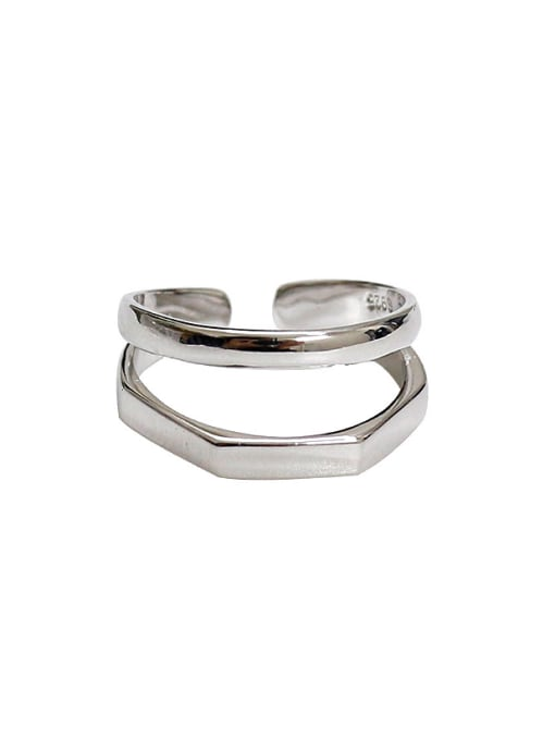 Arya Simple Two-band Silver Smooth Opening Ring