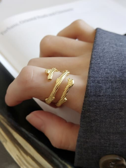Jolie Silver 925 Sterling Silver With 18k Gold Plated Vintage Branch Rings