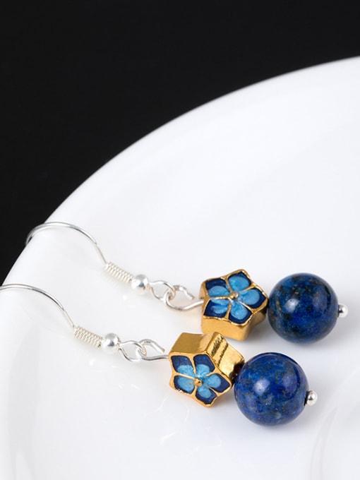Christian Ethnic style Blue Stone Bead Enamel Flower 925 Silver Earrings